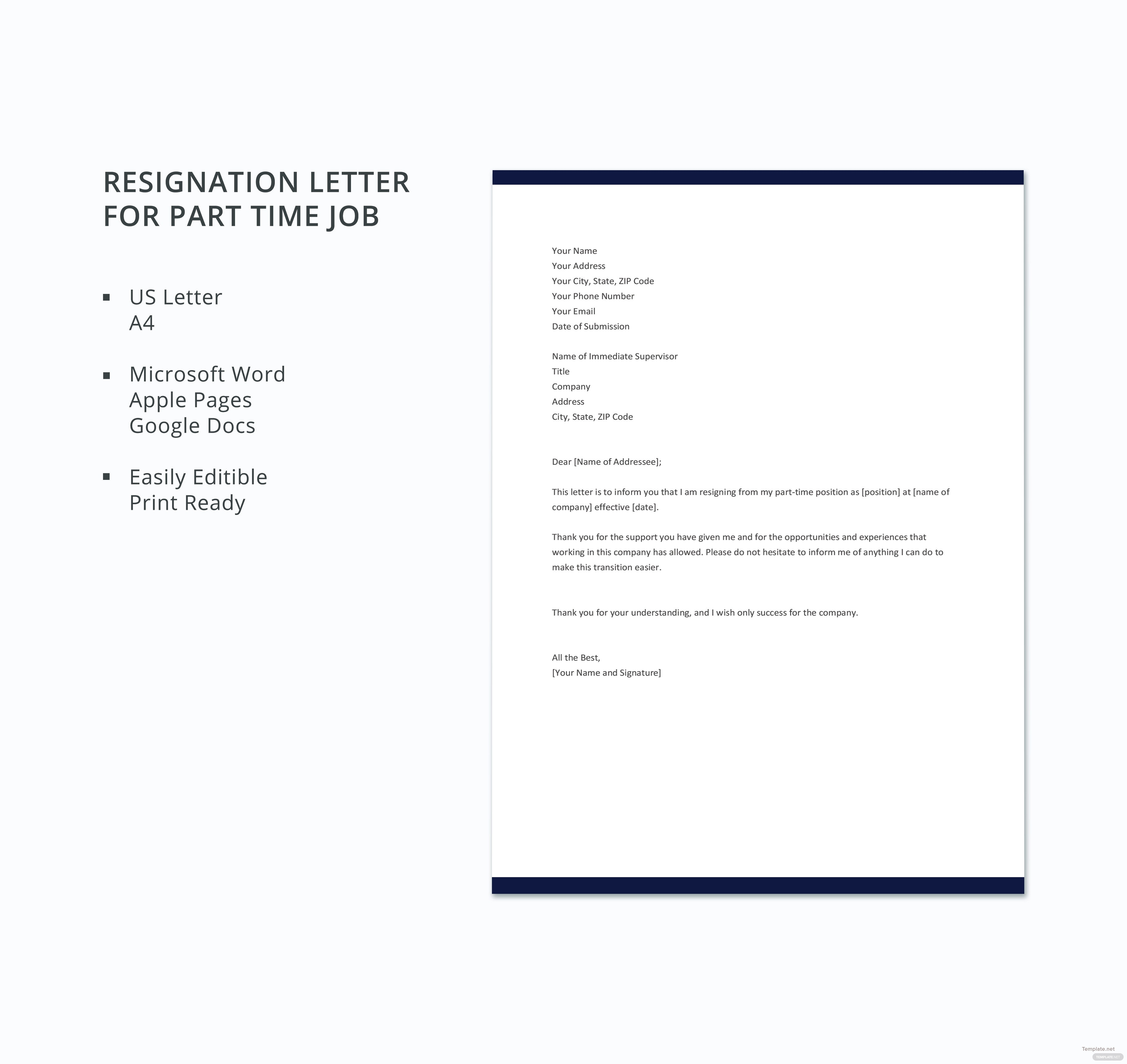 Resignation Letter For Part Time Job Gallery  Letter Format Formal