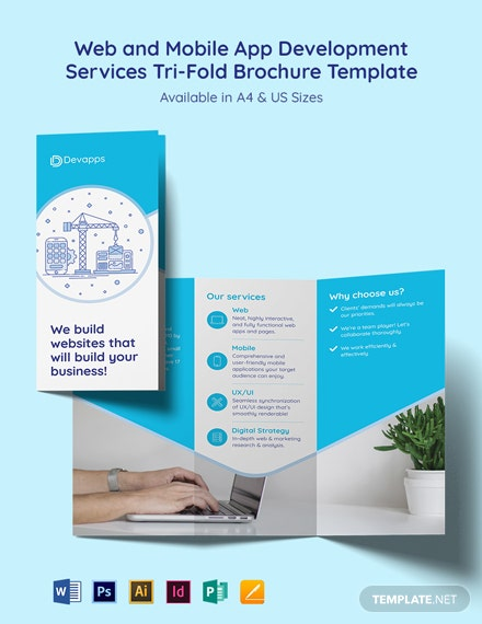 Web and Mobile App Development Services Trifold Brochure