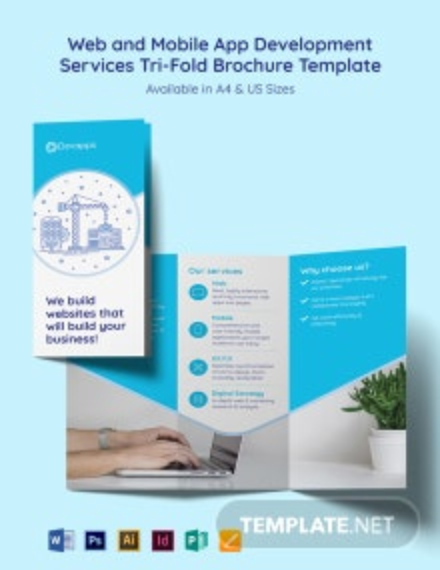 Web and Mobile App Development Services Tri-Fold Brochure Template