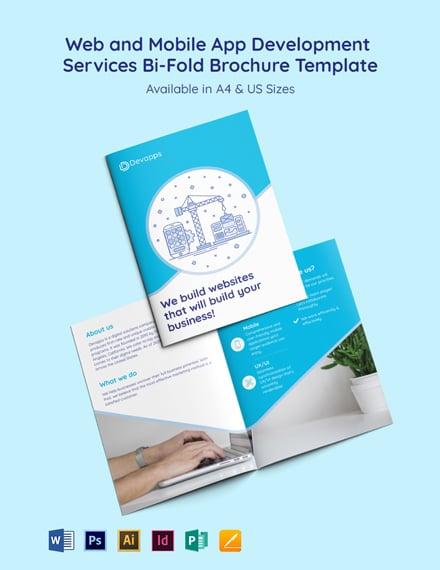 Web and Mobile App Development Services Bi-Fold Brochure Template
