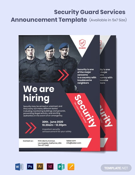 Security Guard Services Announcement Template
