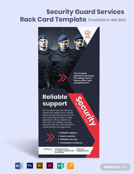 Security Guard Services Rack Card Template
