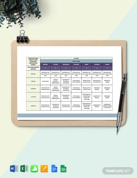 Commercial Daily Construction Schedule Template