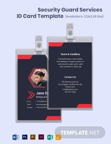 Security Guard Services ID Card Template