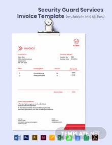 Security Guard Services Invoice Template