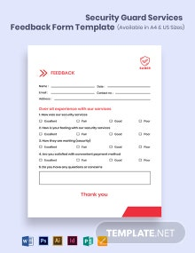 Security Guard Services Feedback Form Template