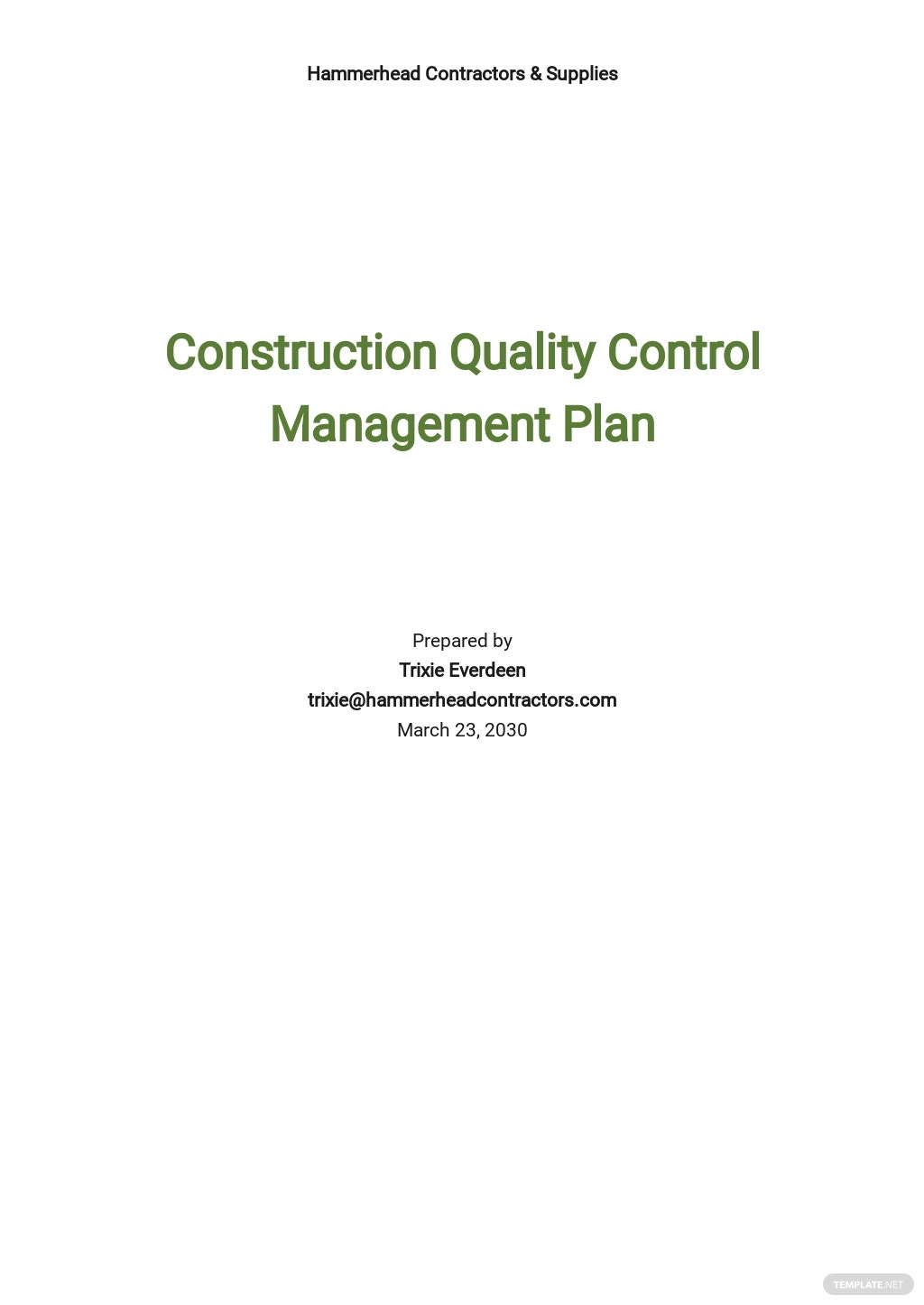Construction Quality Control Management Plan Template