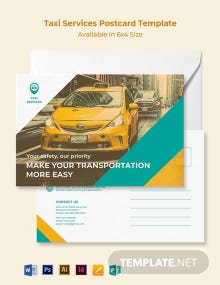 Taxi Services Postcard Template