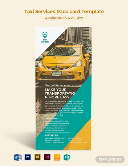 Taxi Services Rack Card Template