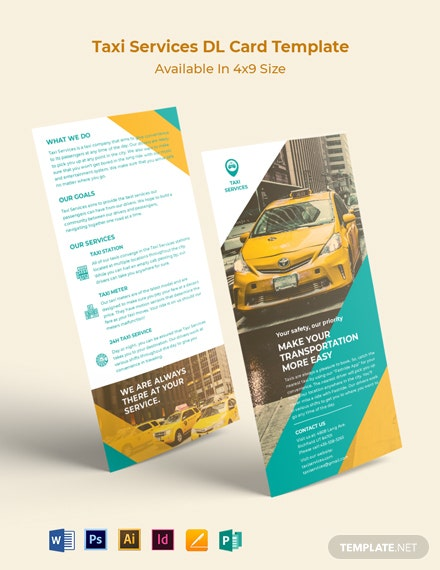 Taxi Services DL Card Template