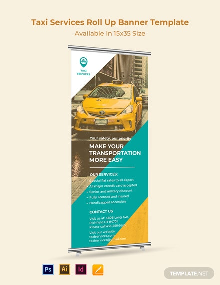 Taxi Services Roll Up Banner Template