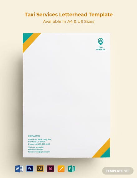 Taxi Services Letterhead Template
