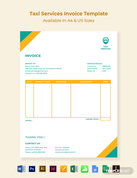 Taxi Services Invoice Template