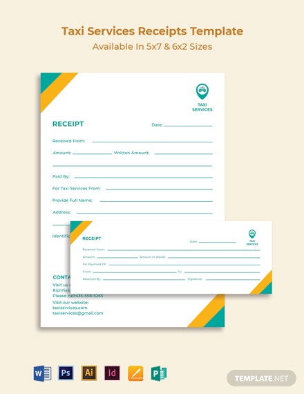 Taxi Services Receipt Template