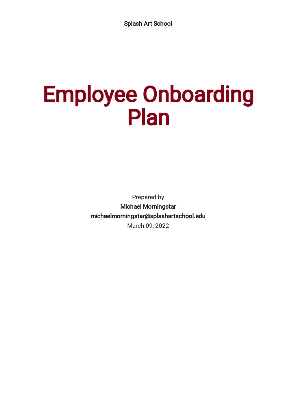 Employee Onboarding Plan Template