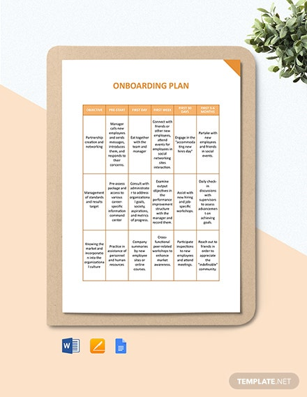Employee Onboarding Plan Template