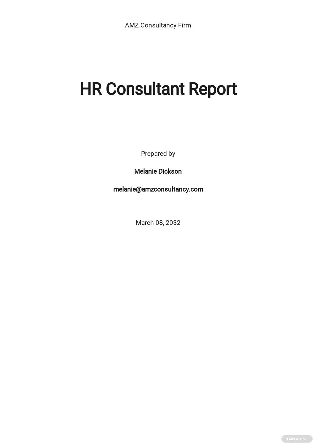 HR Consultant Report Template