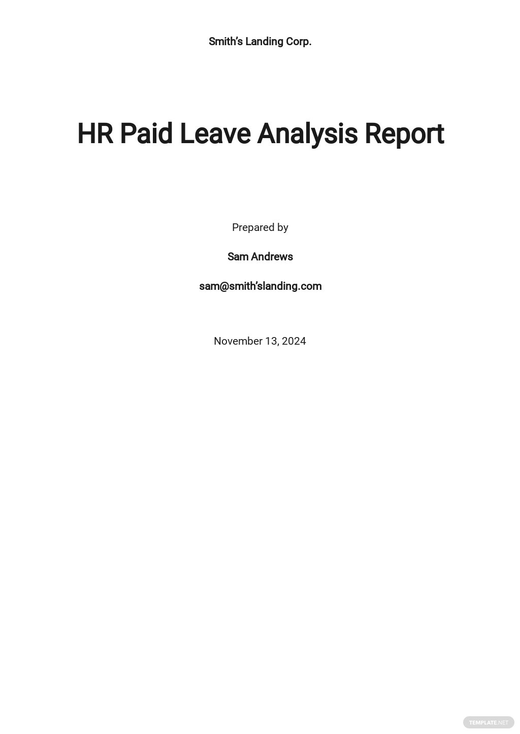 Paid Leave Analysis Report Template