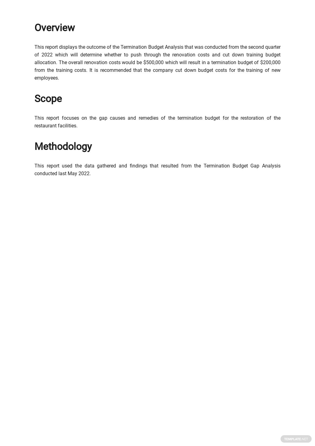 Termination Budget Analysis Report Template 1.jpe