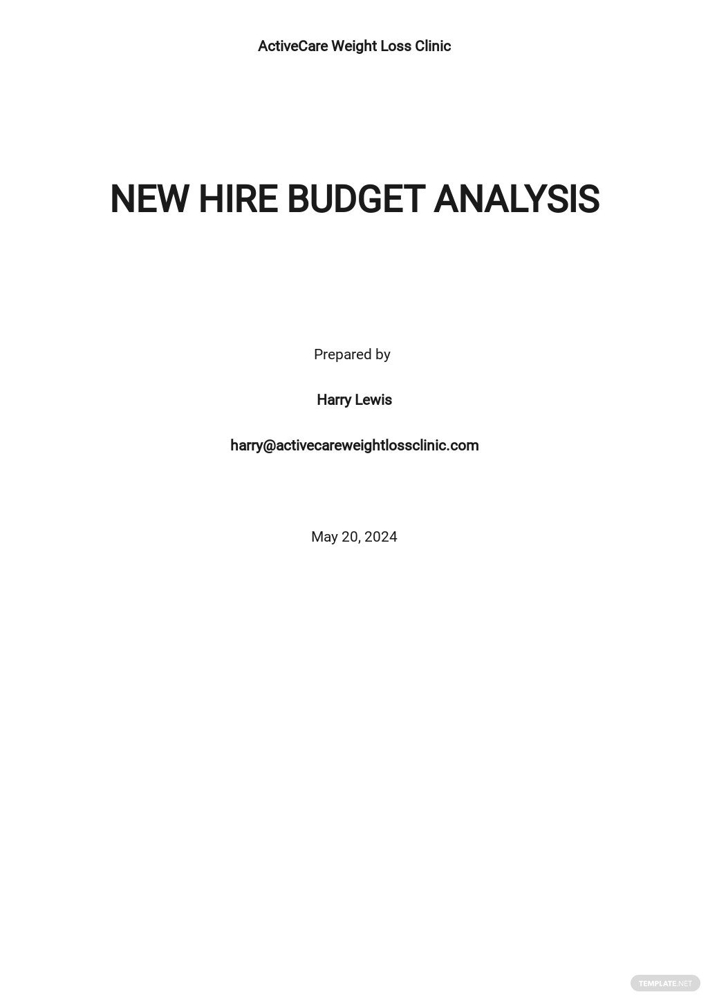 New Hire Budget Analysis Template