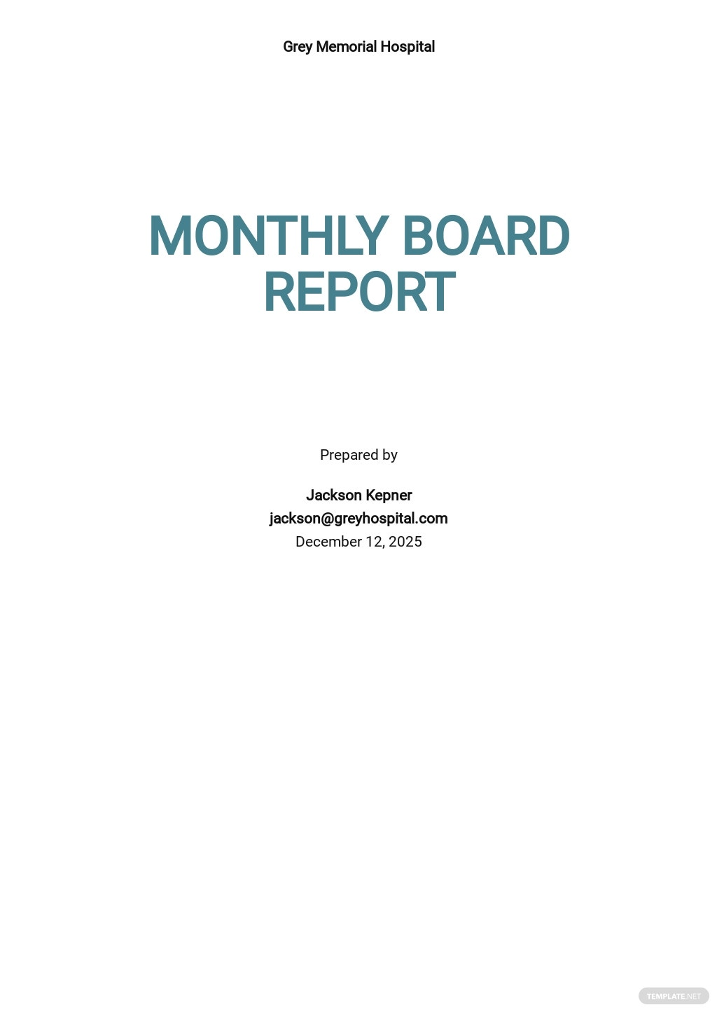 HR Board Report Template