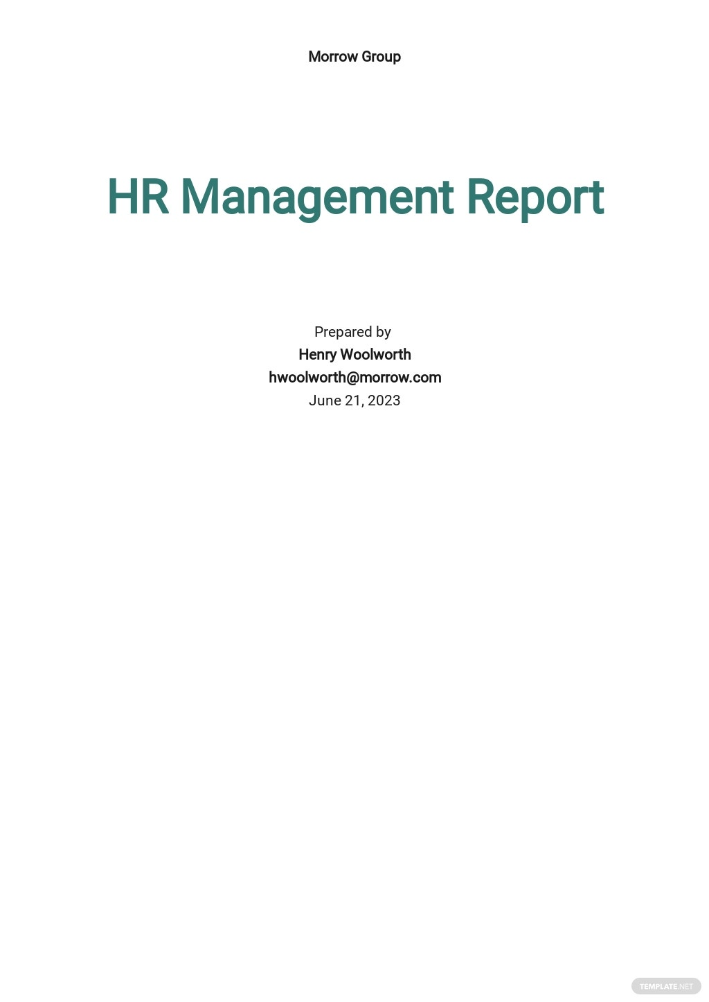 HR Management Report Template
