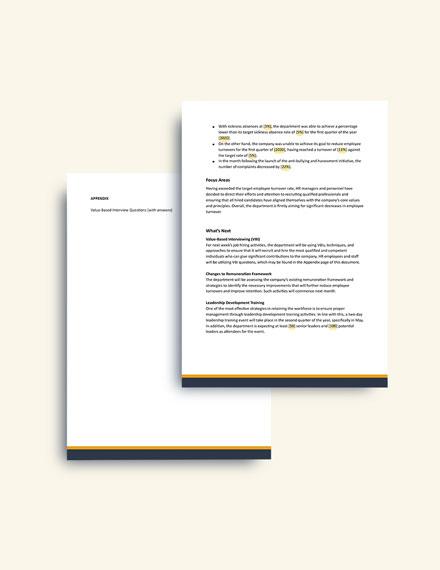 Free HR Quarterly Report format