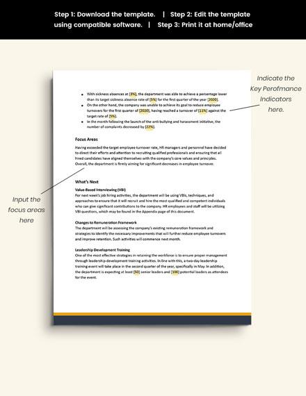 Free Sample HR Quarterly Report