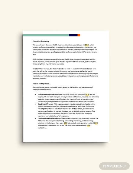 HR Annual Report template