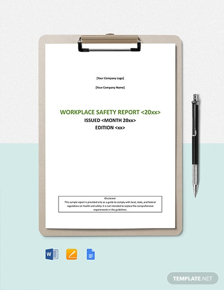 Workplace Safety Report Template