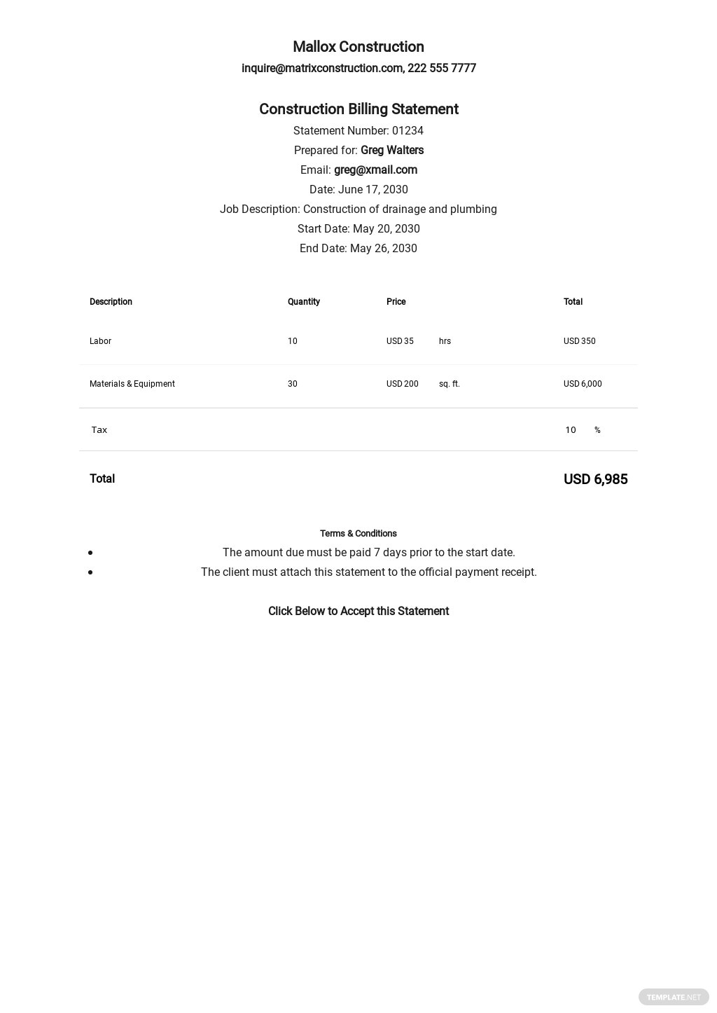 Sample Construction Billing Statement Template