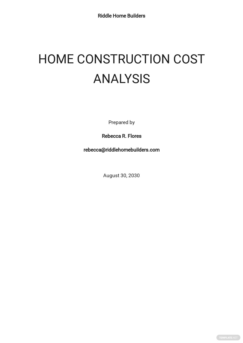 Sample Home Construction Cost Analysis Template