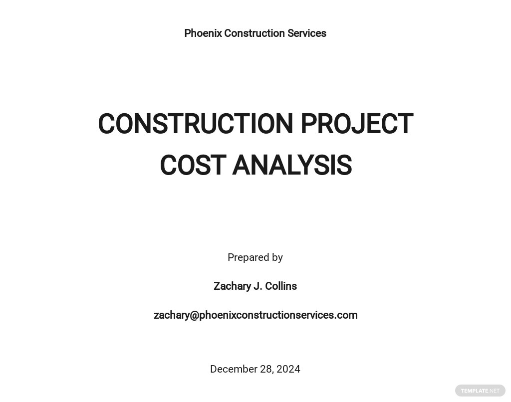 Free Sample Construction Project Cost Analysis Template