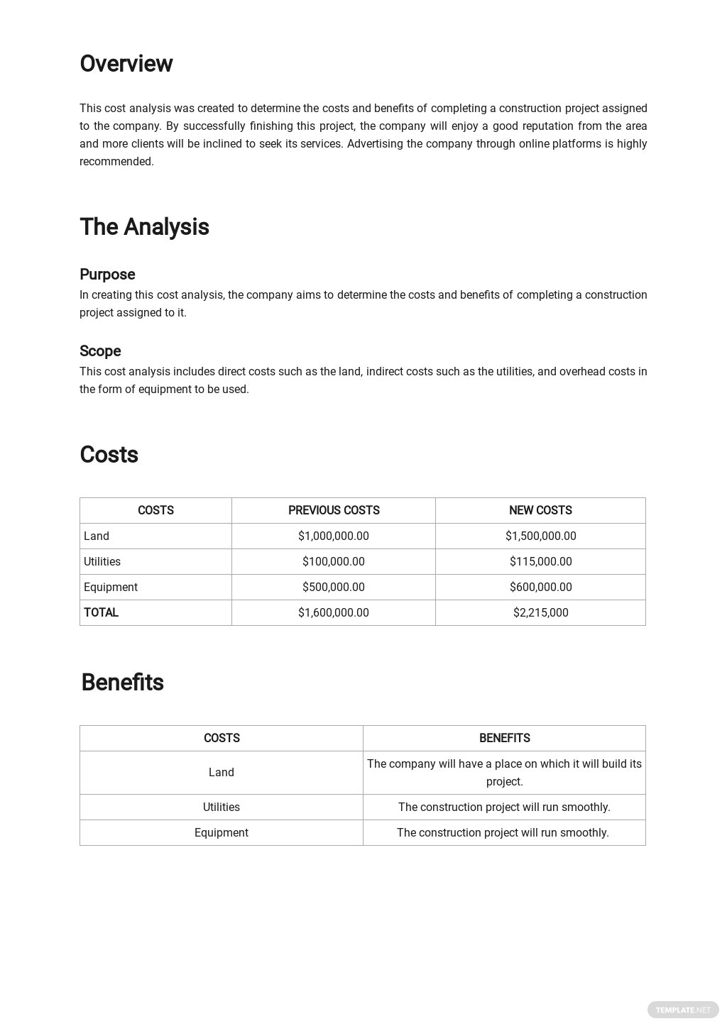 Sample Construction Project Cost Analysis Template 1.jpe