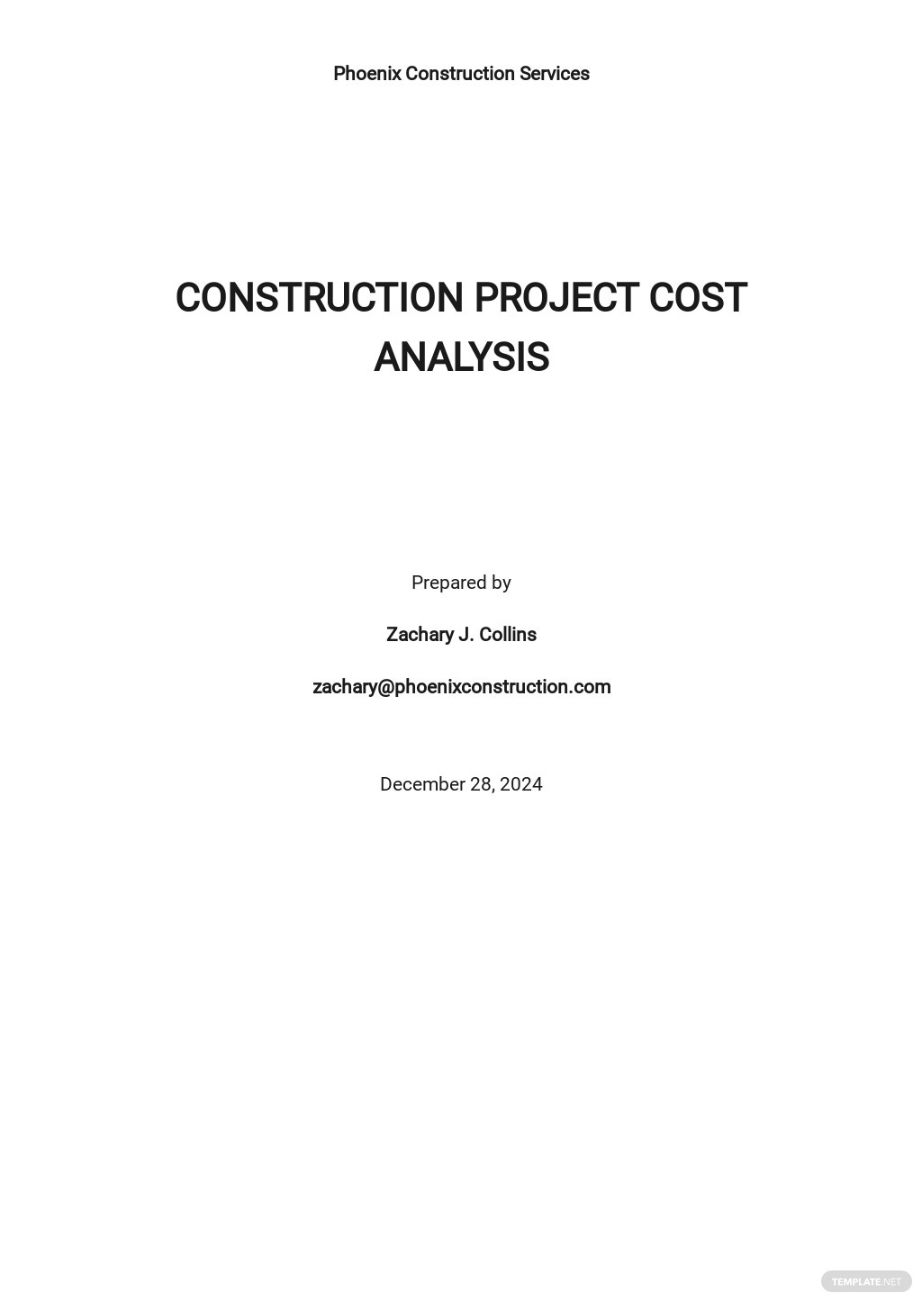 Sample Construction Project Cost Analysis Template