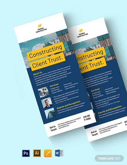 Free Simple Building Construction Rack Card Template