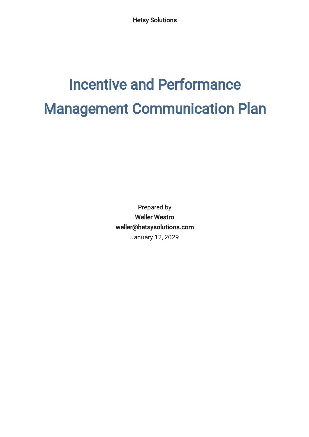 HR Communication Plan Template
