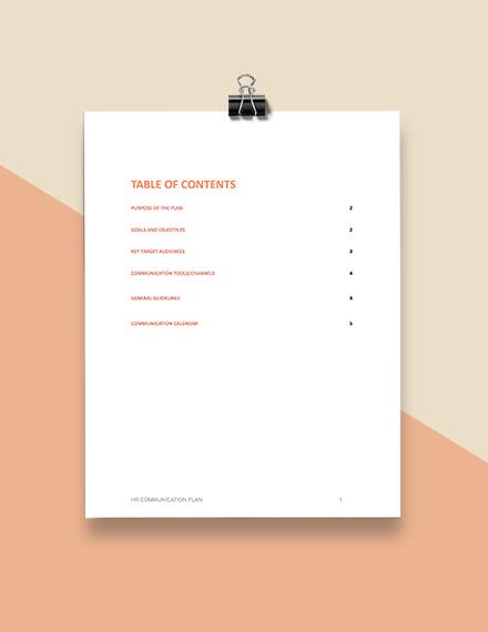 Free HR Communication Plan Template