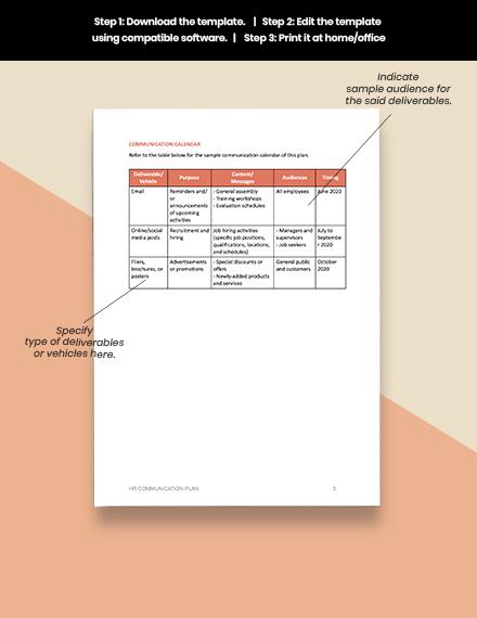 Free Sample HR Communication Plan