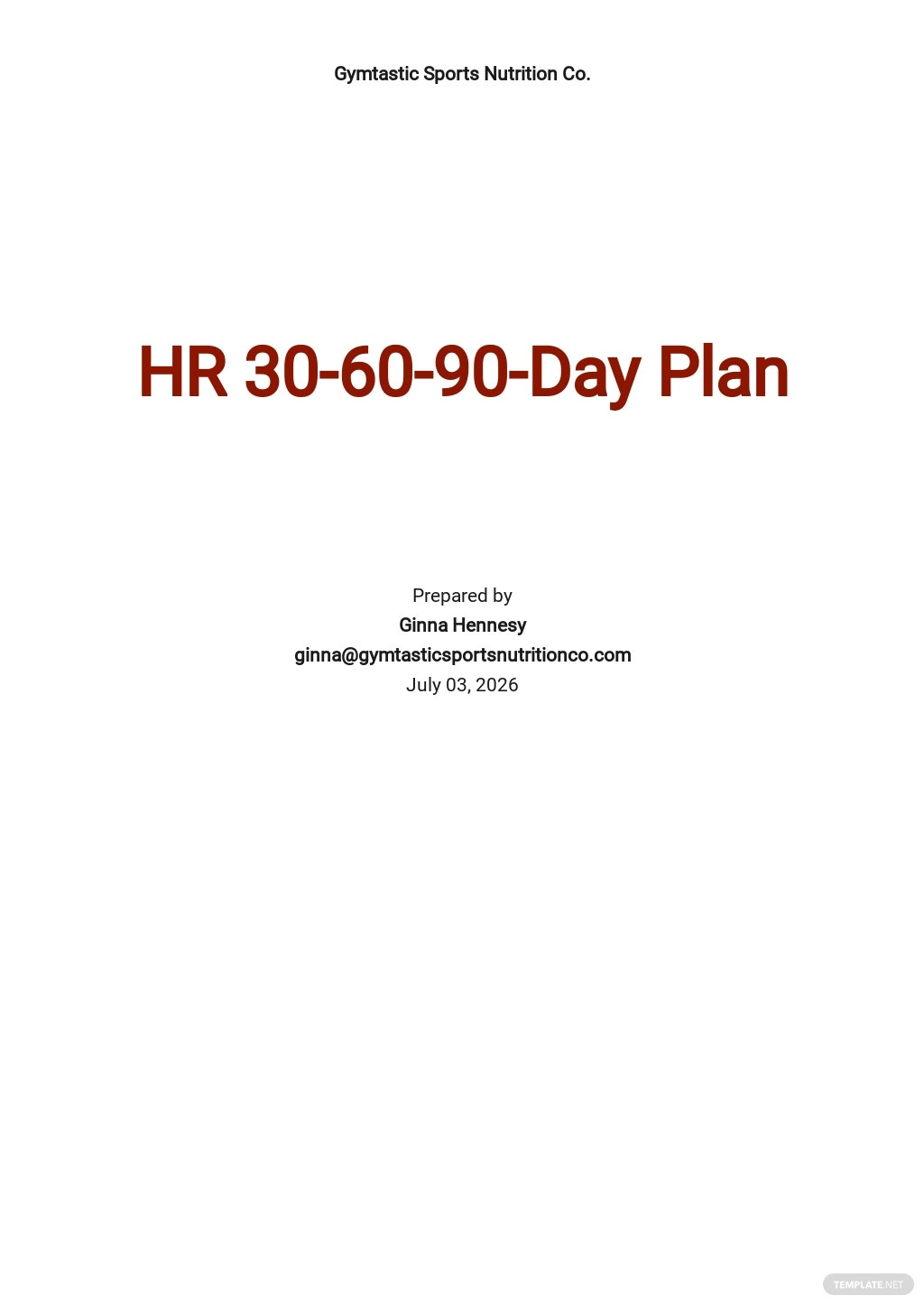 HR 30-60-90-Day Plan Template