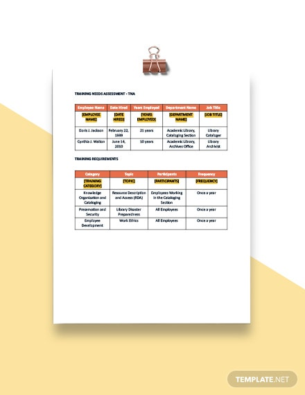 Free Training and Development Plan Template