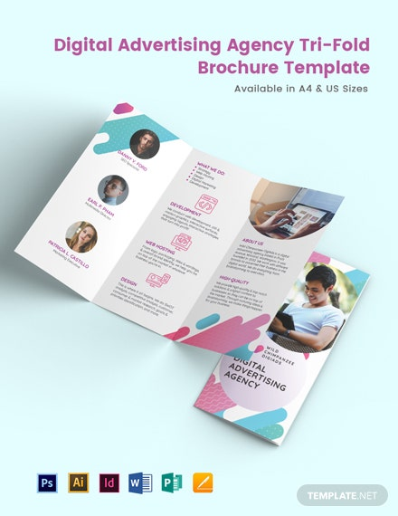 Digital Advertising Agency Tri-fold Brochure Template