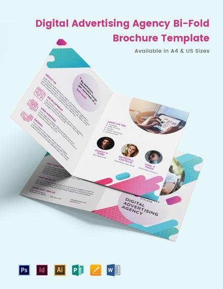 Digital Advertising Agency Bi-Fold Brochure Template
