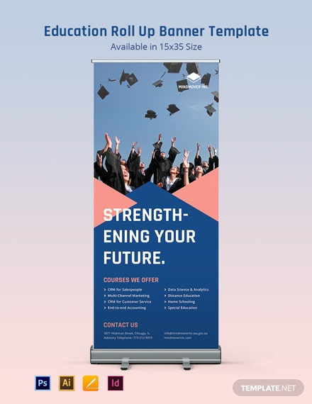 School Education Roll Up Banner Template