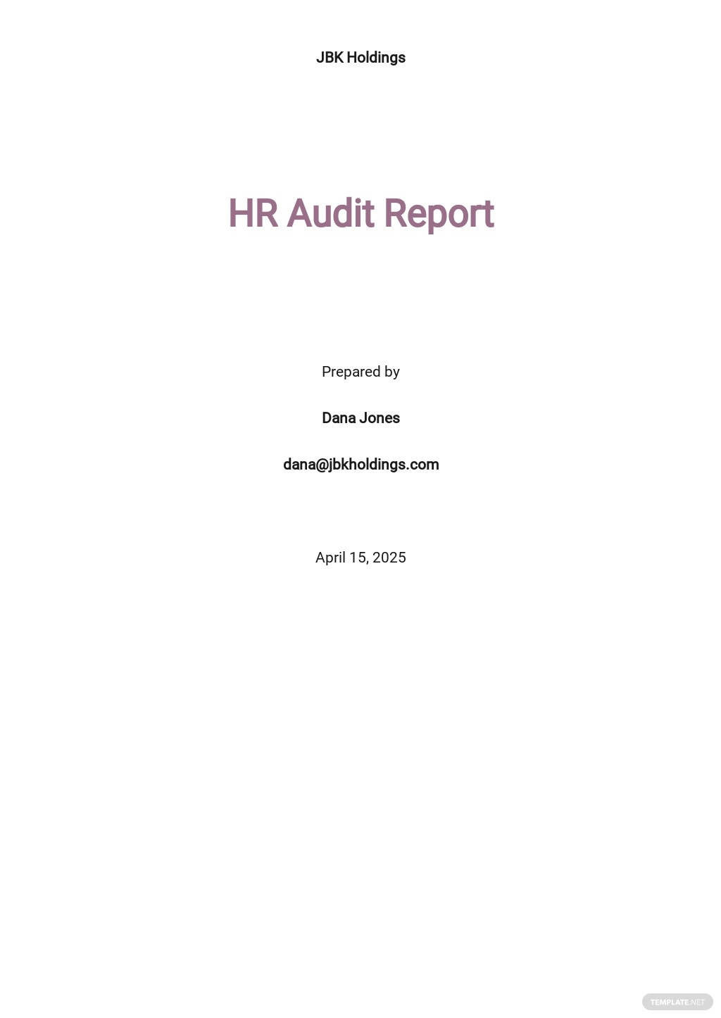 HR Internal Audit Report Template