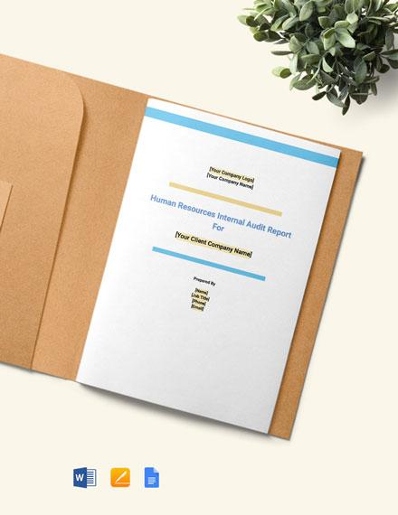HR Internal Audit Report Template