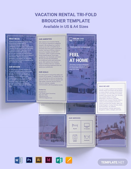 Modern Vacation Rental Tri-fold Brochure Template