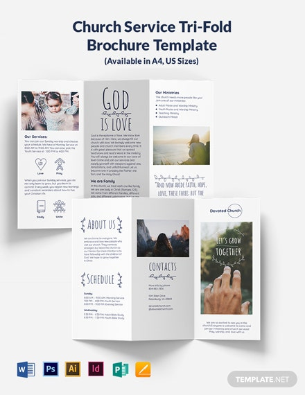 Church Service Tri-Fold Brochure Template