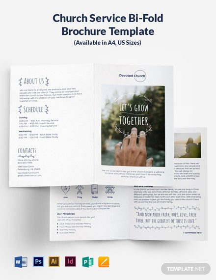 Church Service Bi-Fold Brochure Template