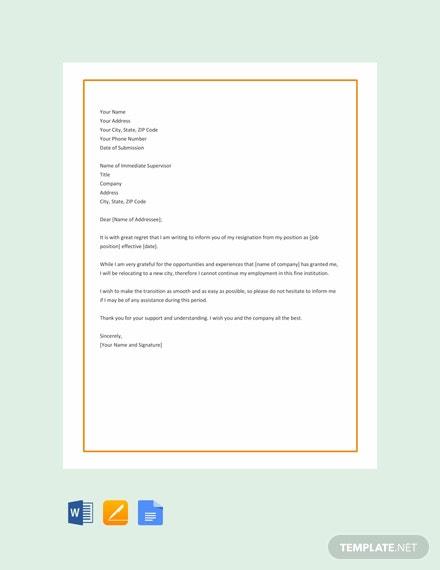 Free Relocation Resignation Letter Template